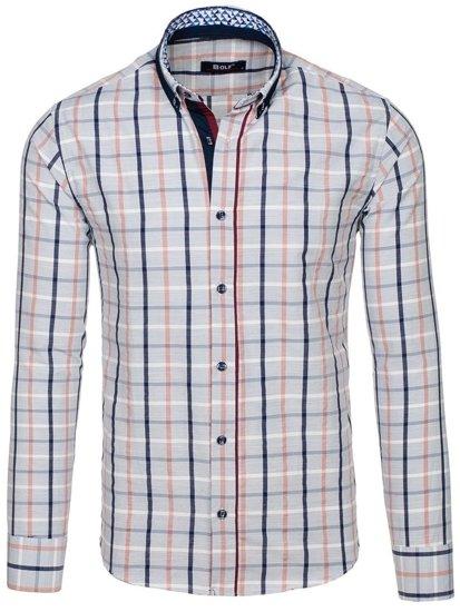 Koszula męska w kratę z długim rękawem szara Bolf 8809