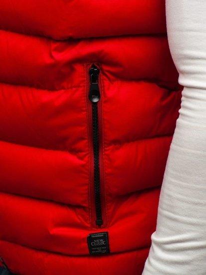 Kamizelka męska dwustronna z kapturem czerwona Denley 5375