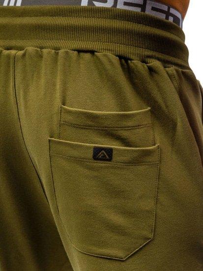 Spodnie dresowe męskie zielone Denley 0469