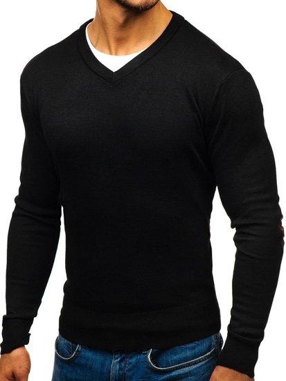 Sweter męski w serek czarny Denley BM6108