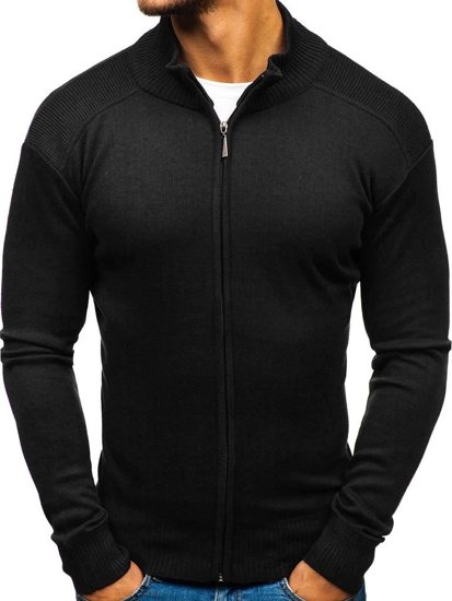 Sweter męski rozpinany czarny Denley BM6112
