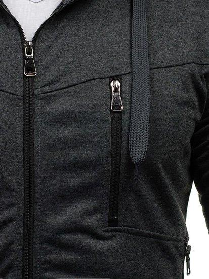 Bluza męska z kapturem grafitowa Denley 7089