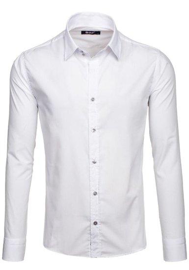 Koszula męska elegancka z długim rękawem biała Bolf 6928