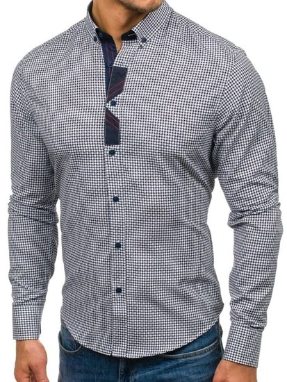Koszula męska we wzory z długim rękawem granatowa Bolf 8810