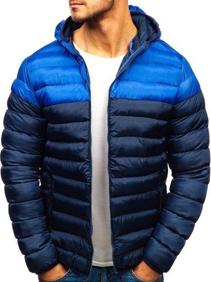 Kurtka męska zimowa sportowa granatowo-niebieska Denley SM17