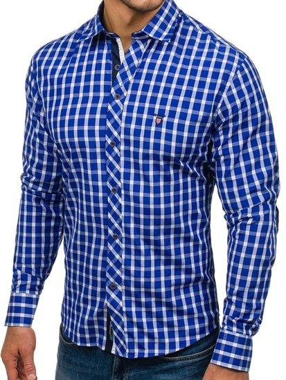 Koszula męska elegancka w kratę z długim rękawem chabrowa Bolf 4747-1