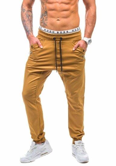 Spodnie jeansowe joggery męskie brązowe Denley 0425