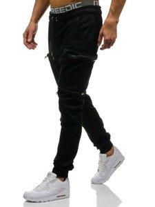 Spodnie joggery bojówki męskie czarne Denley 0475