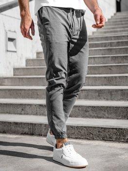 Antracytowe spodnie materiałowe joggery męskie Denley 0011