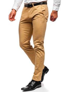 Beżowe spodnie chinosy męskie Denley 1143