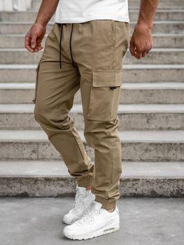Beżowe spodnie joggery bojówki męskie Denley 701