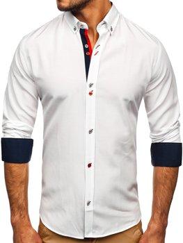 Biała koszula męska z długim rękawem Bolf 20710