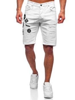 Białe krótkie spodenki jeansowe męskie Denley 3029-1