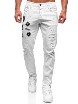 Białe spodnie jeansowe męskie regular fit Denley 4021-1