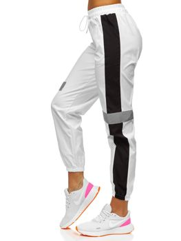 Białe spodnie joggery damskie Denley Y513
