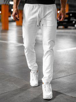 Białe spodnie męskie joggery Denley 1145