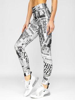 Biało-czarne legginsy damskie Denley 20975