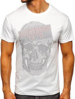 Biały T-shirt męski z nadrukiem Denley KS2108