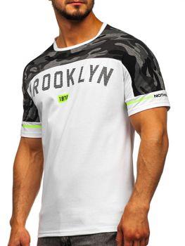 Biały T-shirt męski z nadrukiem Denley SS10977