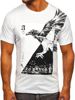 Biały t-shirt męski z nadrukiem Bolf 142171