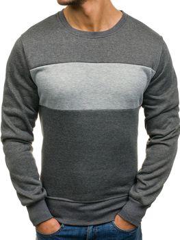 Bluza męska bez kaptura bez nadruku grafitowa Denley J28