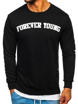 Bluza męska bez kaptura z nadrukiem FOREVER YOUNG czarna Bolf 11116