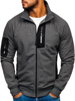 Bluza męska bez kaptura z nadrukiem grafitowo-biała Denley 3842