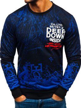 Bluza męska bez kaptura z nadrukiem niebieska Denley 200116