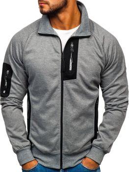 Bluza męska bez kaptura z nadrukiem szaro-biała Denley 3842