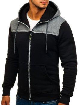 Bluza męska z kapturem rozpinana czarna Denley TC864