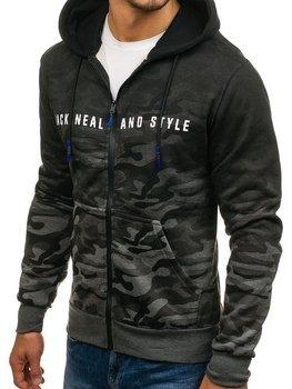 Bluza męska z kapturem rozpinana moro-grafitowa Denley DD86