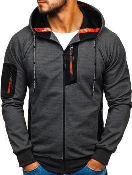 Bluza męska z kapturem z nadrukiem czarno-pomarańczowa Denley 3841