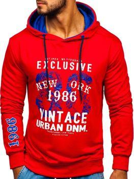 Bluza męska z kapturem z nadrukiem czerwona Denley BK03