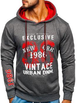 Bluza męska z kapturem z nadrukiem grafitowa Denley BK03