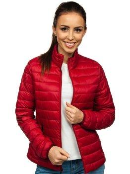 Bordowa pikowana kurtka damska przejściowa Denley 1141
