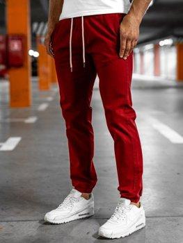 Bordowe spodnie męskie joggery Denley 1145