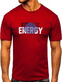 Bordowy T-shirt męski z nadrukiem Denley 14333