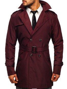 Bordowy dwurzędowy płaszcz męski prochowiec z wysokim kołnierzem i paskiem Denley 0008