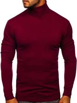 Bordowy golf sweter męski bez nadruku Denley YY02