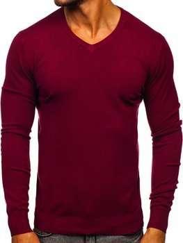 Bordowy sweter męski w serek Denley YY03