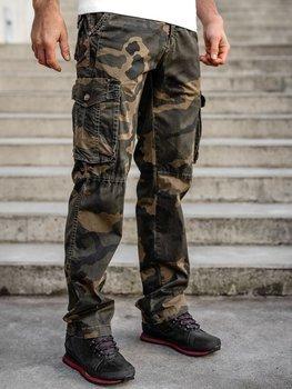 Brązowe spodnie bojówki moro plus size męskie z paskiem Denley CT8501