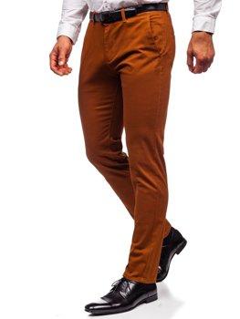 Brązowe spodnie chinosy męskie Denley 1143