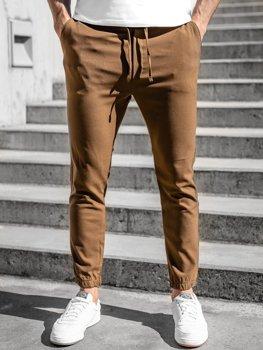 Brązowe spodnie materiałowe joggery męskie Denley 0011