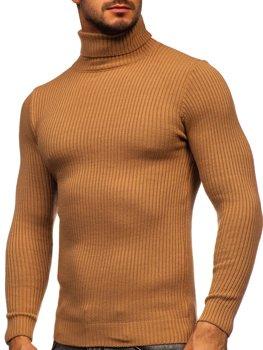 Brązowy sweter męski golf Denley 4607