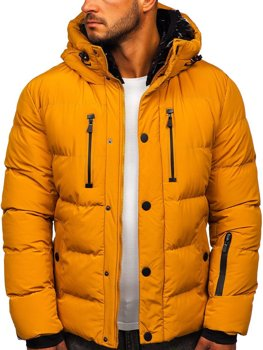 Camelowa pikowana kurtka męska zimowa Denley J1903