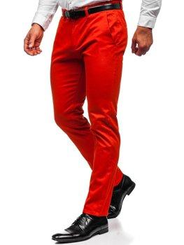 Ciemnopomarańczowe spodnie chinosy męskie Denley 1143