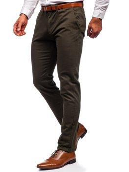 Ciemnozielone spodnie chinosy męskie Denley 1143