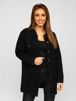 Czarna długa katana jeansowa kurtka damska Denley WL1743-1