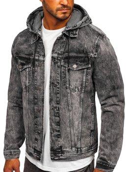 Czarna jeansowa kurtka męska z kapturem Denley RB9860-1