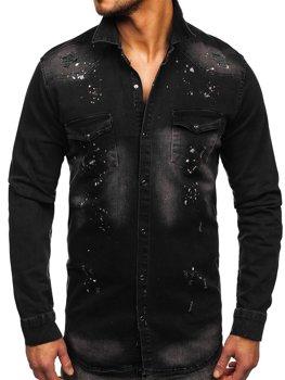 Czarna koszula męska jeansowa z długim rękawem Denley R705